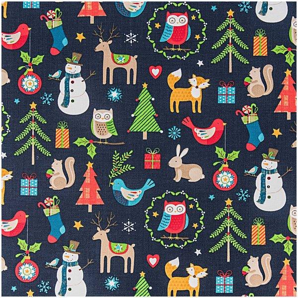 Rico Design Stoff Weihnachten Tiermotive blau 50x160cm