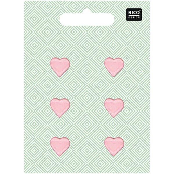 Rico Design Herzknöpfe rosa 1,5cm 6 Stück