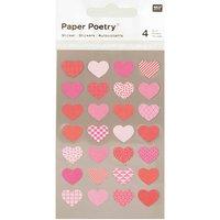Paper Poetry Sticker Herzen mehrfarbig 4 Bogen