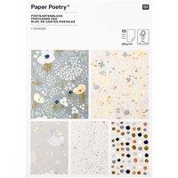 Paper Poetry Postkartenblock Crafted Nature blau 15 Stück