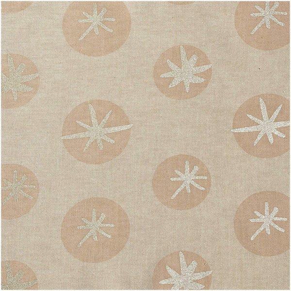 Rico Design Stoff Leinenoptik Schneeflocken natur-gold 50x140cm
