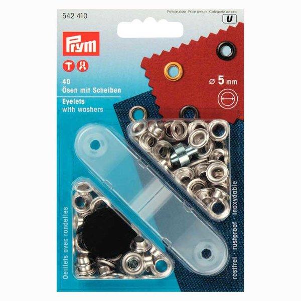 Prym Ösen mit Scheiben silber 5mm 40 Stück