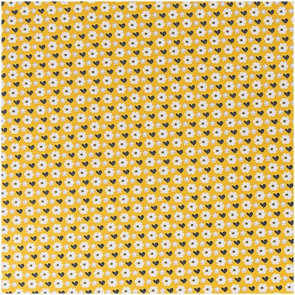 Rico Design Stoff Blüten senfgelb 50x160cm