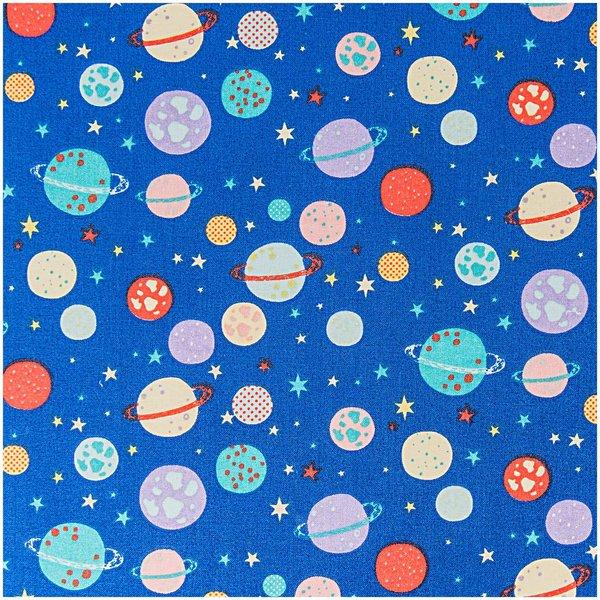 Rico Design Stoff Planeten und Sterne blau 50x140cm