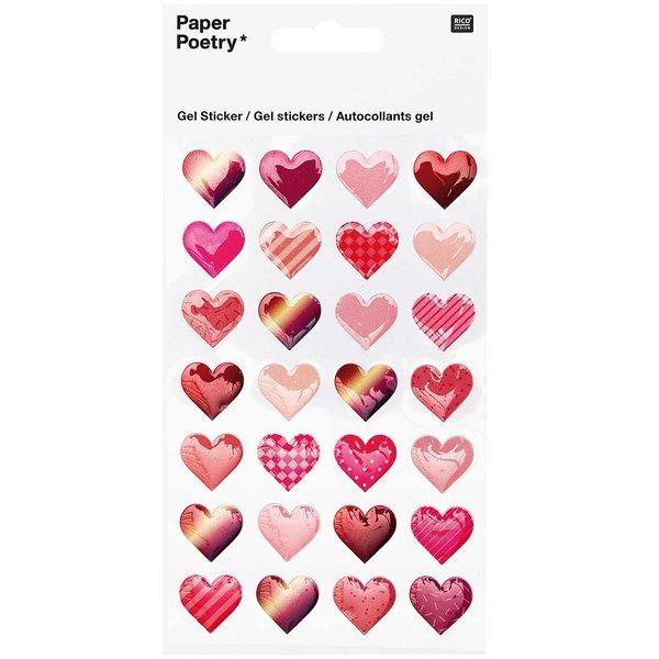 Paper Poetry Gelsticker Herzen gemustert
