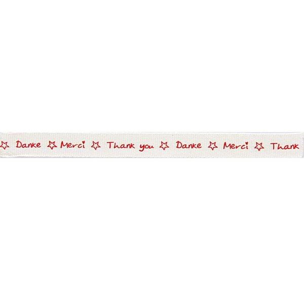 Rico Design Ribbon Thank you-Danke-Merci weiß-rot 2m