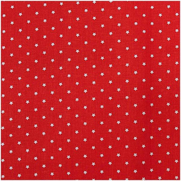 Rico Design Stoff Sterne weiß-rot 140cm