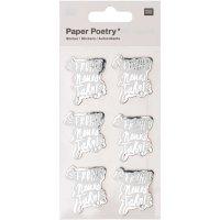 Paper Poetry 3D-Sticker Frohes neues Jahr 6 Stück