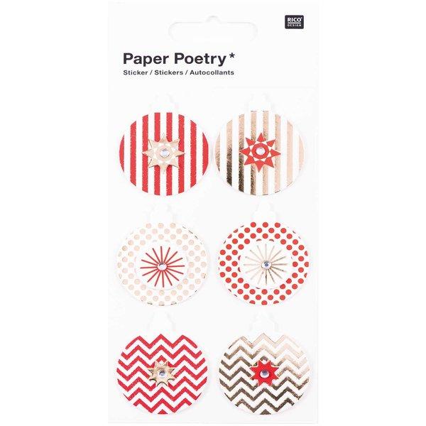 Paper Poetry 3D Sticker Kugeln rot-gold Hot Foil