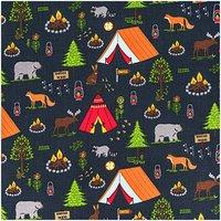 Rico Design Stoff Camping schwarz 50x140cm