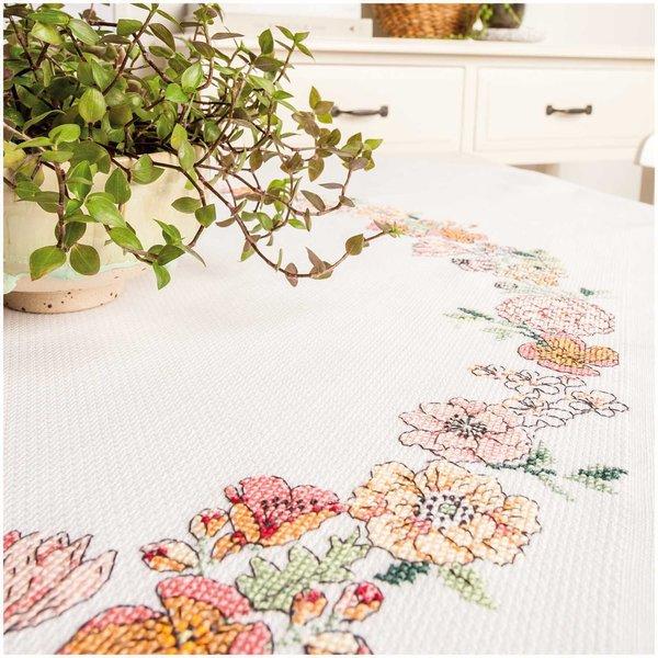 Rico Design Stickpackung Decke Blumenkranz 90x90cm