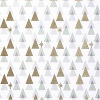 Rico Design Druckstoff grafische Tanne weiß-gold 140cm