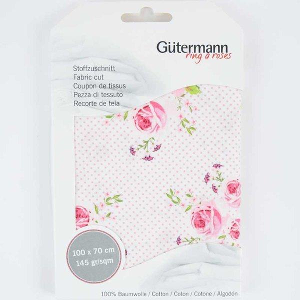 Gütermann Stoff Summer Loft Blumen weiß-rosa 70x100cm