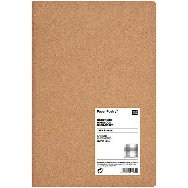 Paper Poetry Notizbuch weiß A5 Kraftpapier kariert