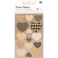 Paper Poetry Kraftpapier Sticker Herzen 4 Bogen
