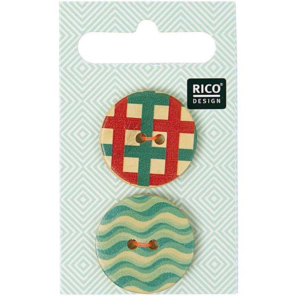 Rico Design Holzknopf grafisch 2,5cm 2 Stück bedruckt