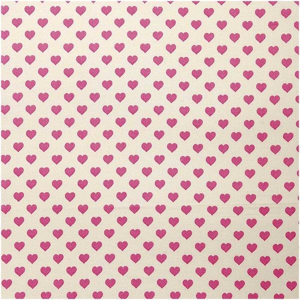 Rico Design Druckstoff Herzen hellgelb-rosa 50x140cm