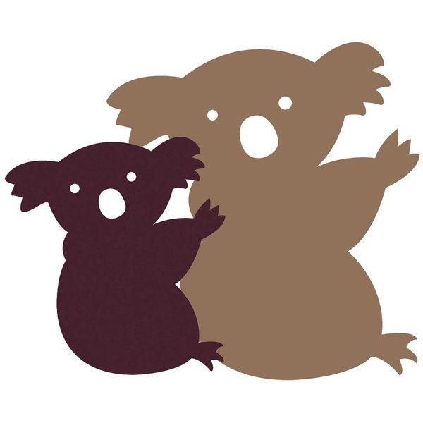 Rico Design Appliqué Koala mit Baby braun-beige 9,2x8cm