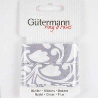 Gütermann Schrägband Ranke grau-weiß 20mm 3m