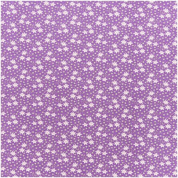 Rico Design Stoff violett mit Margeriten 160cm