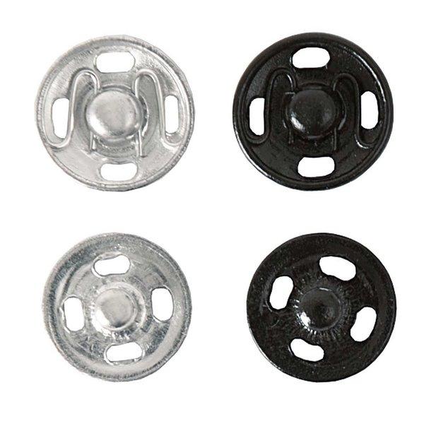 Rico Design Druckknopf Mix silber-schwarz 10mm 24 Stück