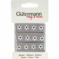 Gütermann Baumwollband Sterne grau 15mm 2m