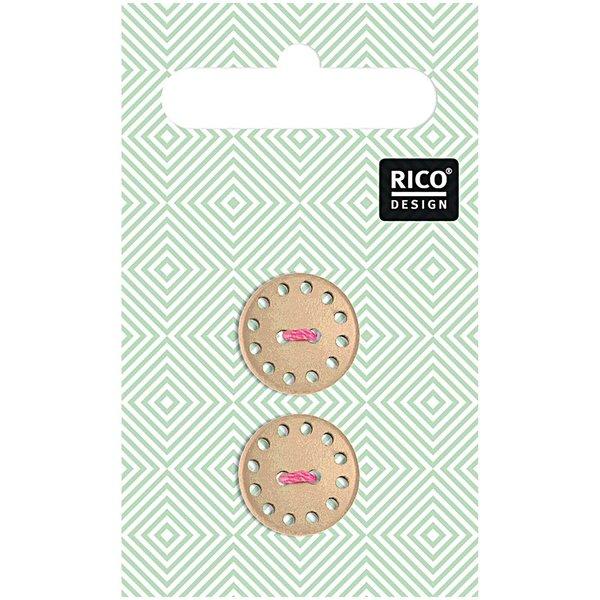 Rico Design Holzknopf hellbraun 1,9cm 2 Stück