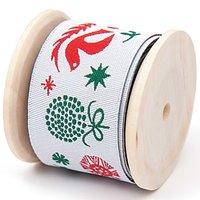 Rico Design Webband Weihnachtsmotive weiß 2,8cm 2m