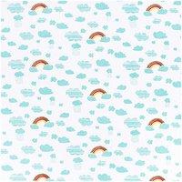 Rico Design Stoff Regenbogen weiß 50x140cm