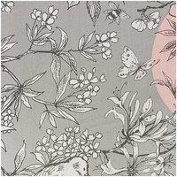 Rico Design Stoff Vögel grau-rosa 140cm  beschichtet