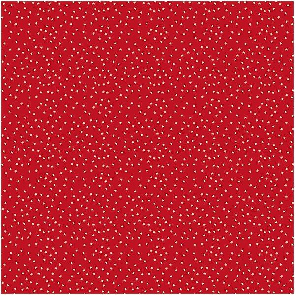 Rico Design Stoff Sterne rot-natur 140cm