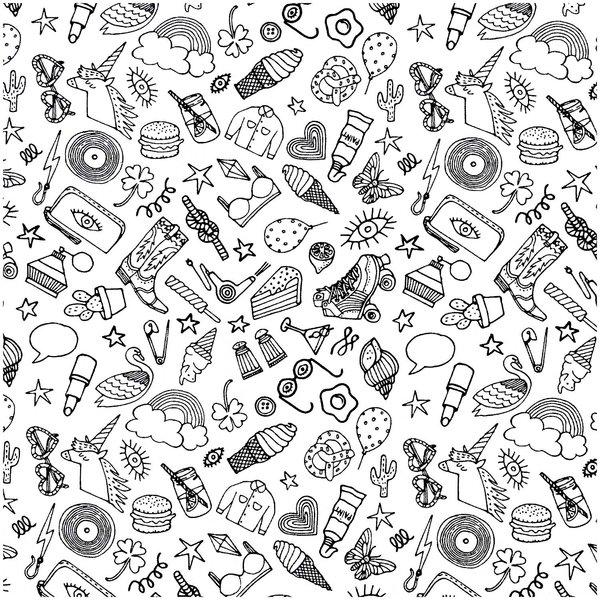 Rico Design Stoff Icons weiß-schwarz 140cm
