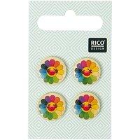 Rico Design Knöpfe mit mehrfarbigen Sonnenblumen 1,5cm 4 Stück
