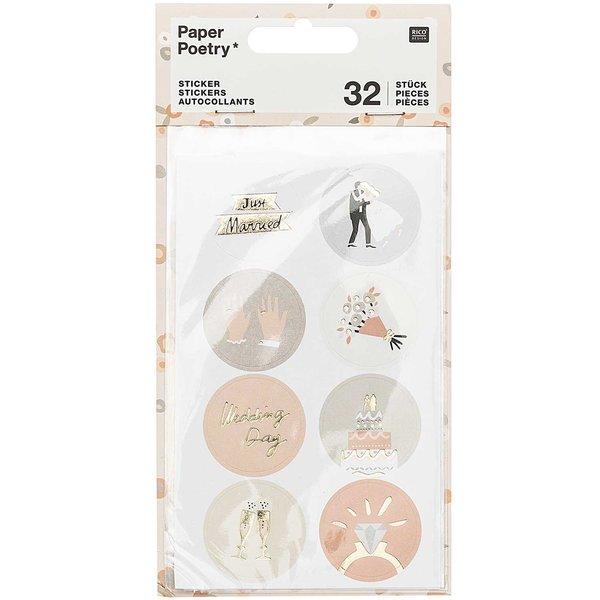 Paper Poetry Sticker Hochzeit rund 4 Blatt