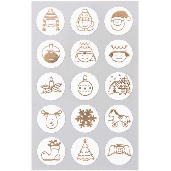 Paper Poetry Sticker Weihnachtsmix gold 4 Bogen