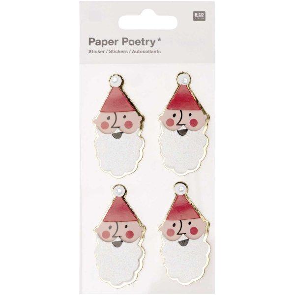 Paper Poetry 3D-Sticker Jolly Christmas Nikolaus 4 Stück