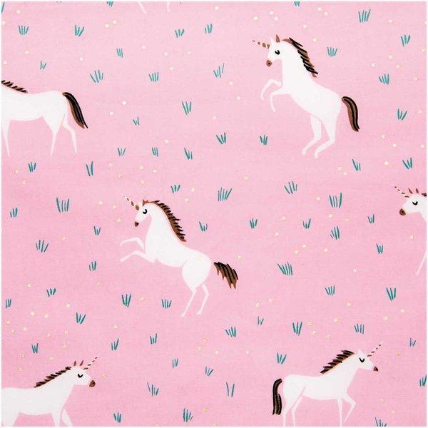 Rico Design Wachstuch Einhorn rosa 25x70cm beschichtet