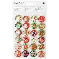 Paper Poetry Adventskalender Zahlen Buttons grün-rot 2,5cm 24 Stück