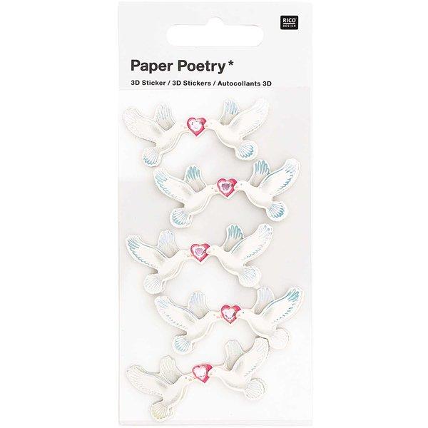 Paper Poetry 3D-Sticker Tauben 5 Stück