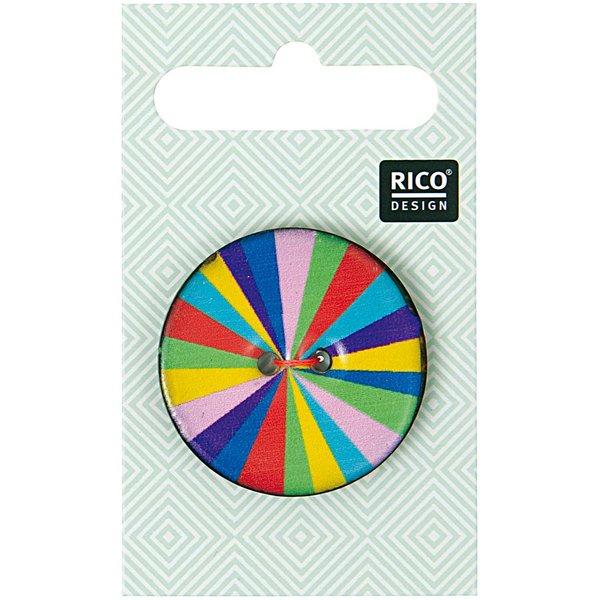 Rico Design Knopf mit mehrfarbigen Streifen 3,4cm