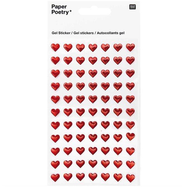 Paper Poetry Gelsticker Herzen klein rot
