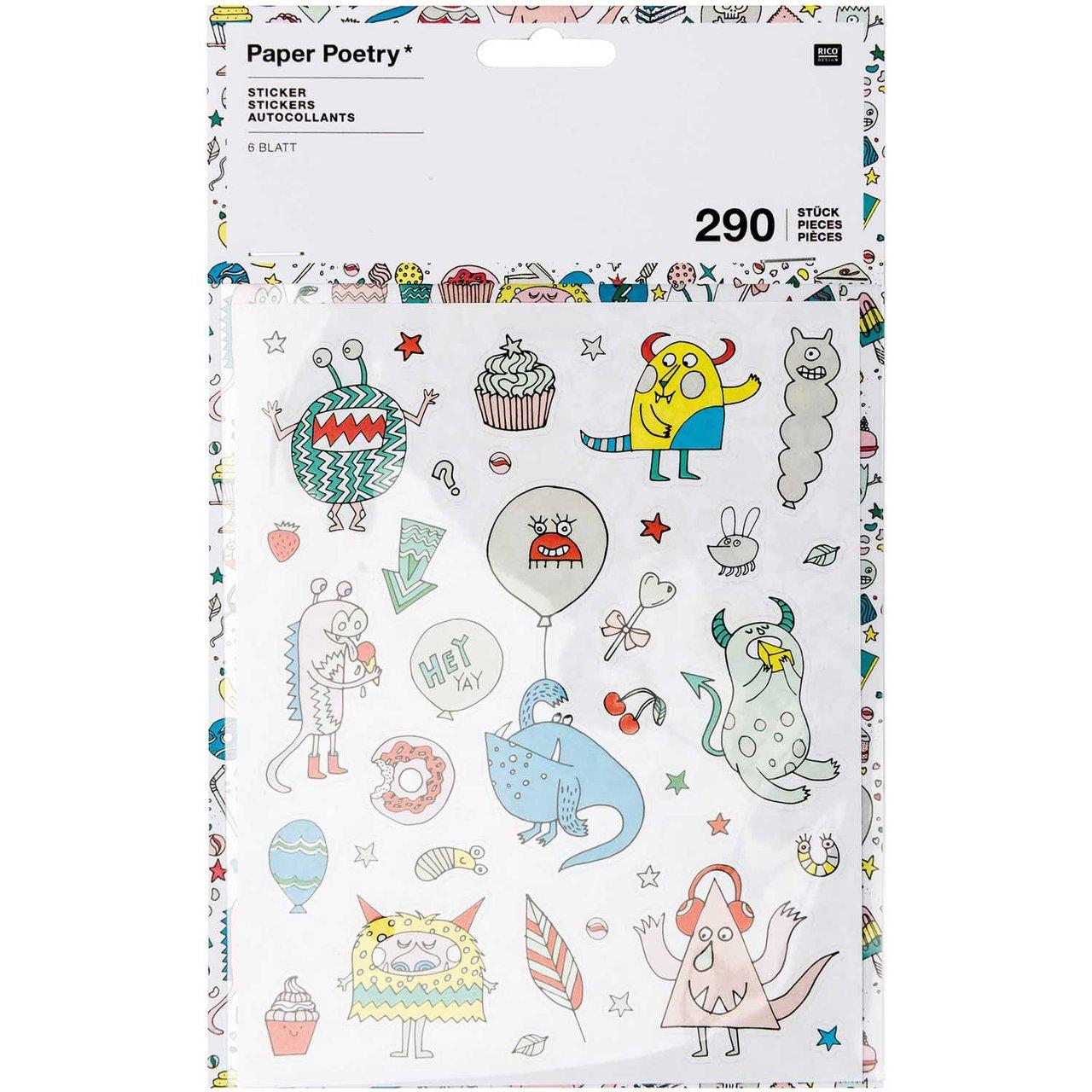 Paper Poetry Sticker Monster Party 6 Blatt