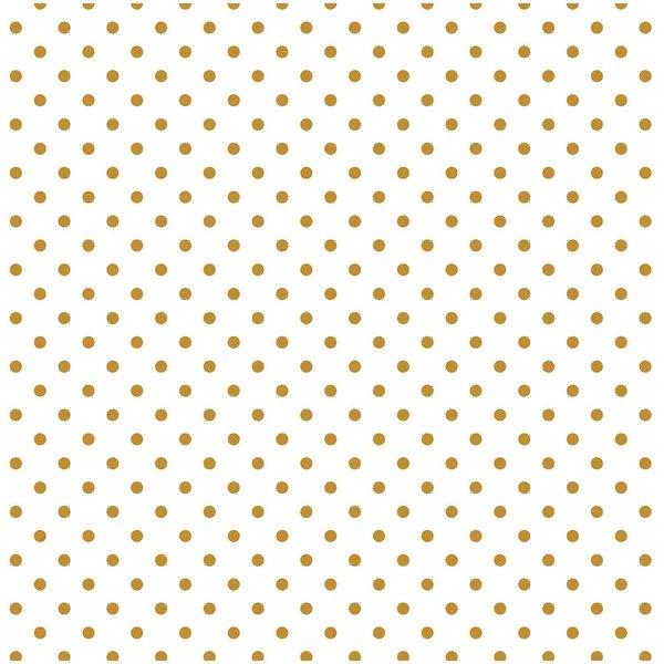 Rico Design Stoff Punkte klein weiß-gold 50x140cm beschichtet