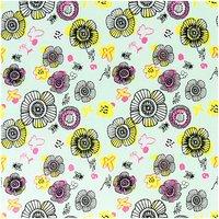 Rico Design Stoff Blüten mint-neon 50x140cm