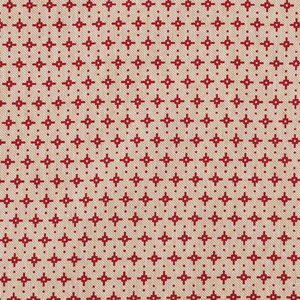 Rico Design Stoff grafische Sterne natur-rot 50x140cm