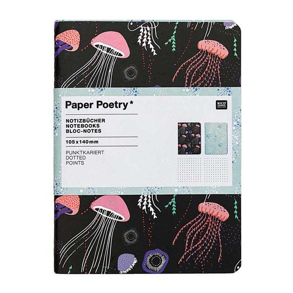 Paper Poetry Notizbücher Mermaid Quallen A6 punktkariert 40 Seiten 2 Stück