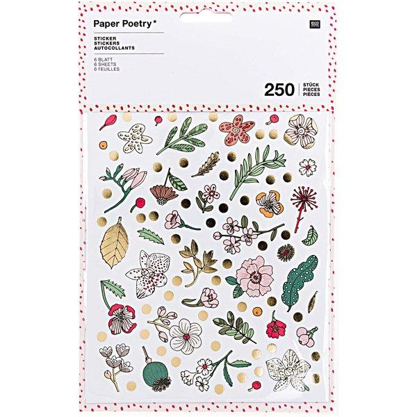 Paper Poetry Sticker Hygge Flowers 6 Blatt