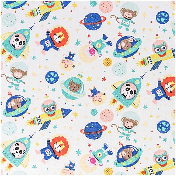Rico Design Stoff Tiere im Weltall blau 50x140cm