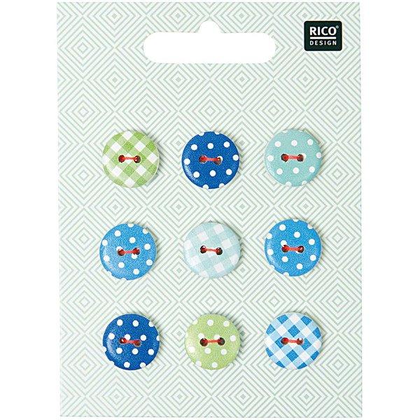 Rico Design Knopf Mix Vichy-Punkte grün-blau 1,4cm 9 Stück