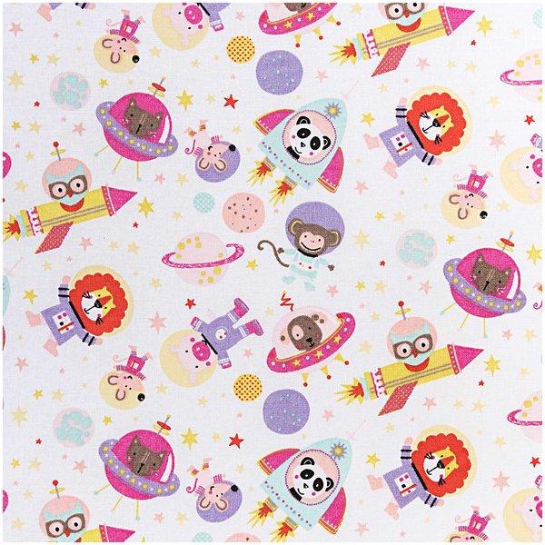 Rico Design Stoff Tiere im Weltall rosa 50x140cm